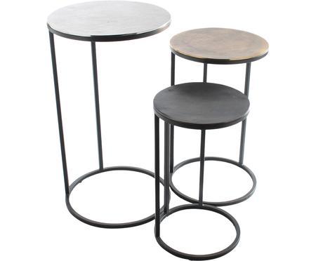 Tables d'appoint gigognes en métal Calvin, 3élém.
