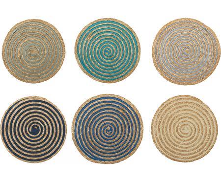 Komplet okrągłych podkładek ze słomy Baita, 6 elem.
