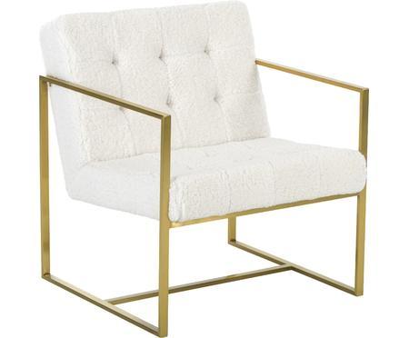 Fauteuil lounge en peluche blanc crème Manhattan