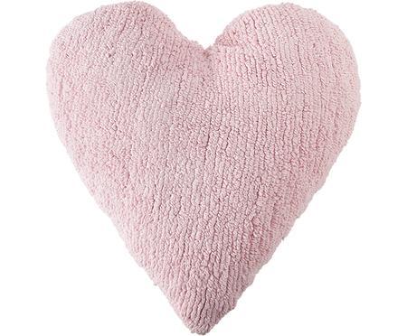 Herzförmiges Kissen Corazón in Rosa, mit Inlett