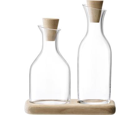 Essig- und Öl-Spender Serve aus Glas und Eichenholz, 3er-Set