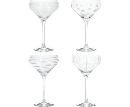 Champagnerschalen Mikasa mit silbernen Verzierungen, 4er-Set