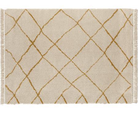 Pluizig hoogpolig vloerkleed Primrose in in crème kleur met ruitjesmotief