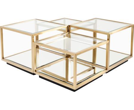 Ensemble de tables basses avec fond en verre miroir Luigi, 4élém.