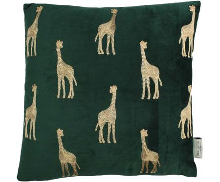 Besticktes Samt-Kissen Giraffe in Grün/Gold, mit Inlett