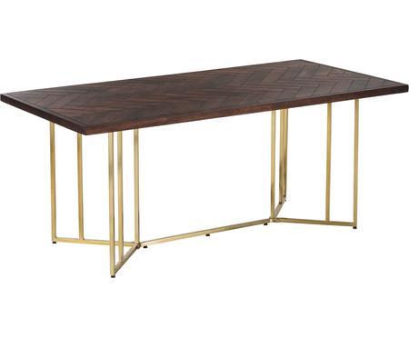 Stół do jadalni z litego drewna w jodełkę Luca