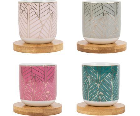 Komplet kubków z porcelany z bambusową podstawką Orfe, 8 elem.