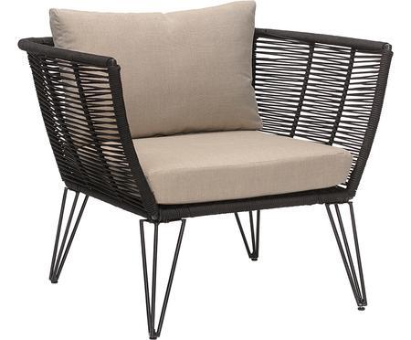 Fotel wypoczynkowy ogrodowy ze splotu z tworzywa sztucznego Mundo