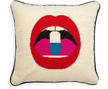 Coussin design brodé main Lips Pill