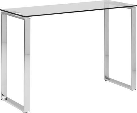 Glazen sidetable Katrine met zilverkleurige frame