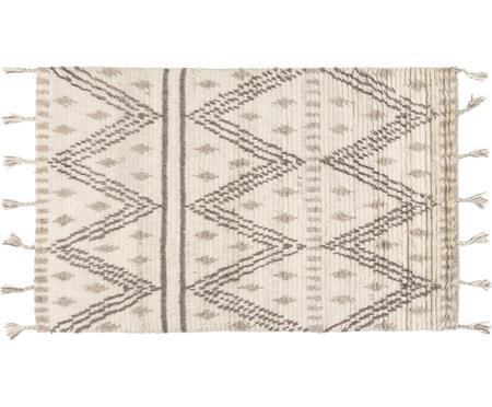 Handgeweven wollen vloerkleed Berber met kwastjes in ethno stijl