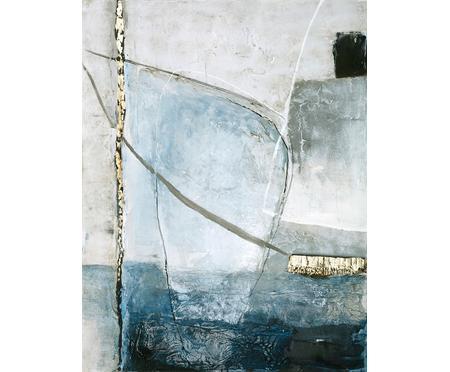 Handgemaltes Leinwandbild Golden Blue II