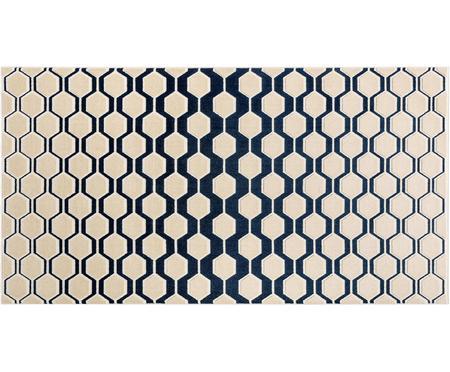 Tapis bleu foncé-beige à texture irrégulière Diamond Key