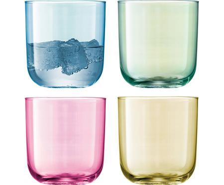 Handbemalte Wassergläser Polka in Bunt, 4er-Set