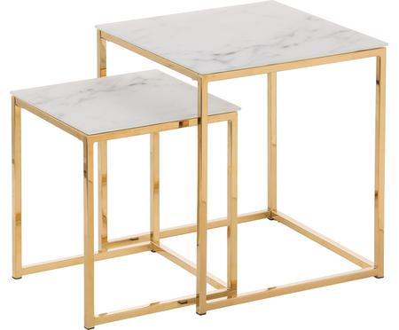 Set 2 tavolini con piano in vetro marmorizzato Antigua