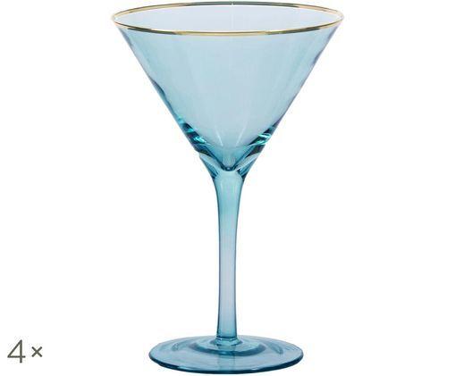 Martinigläser Chloe in Blau mit Goldrand, 4er-Set