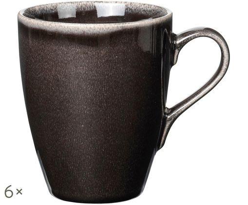 Handgefertigte Tassen Nordic Coal, 6 Stück