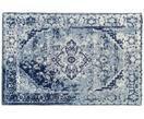 Vintage Chenilleteppich Catania in Blau-Creme, handgewebt