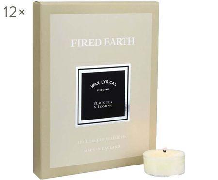 Bougies diamètre chauffe-plat Fired Earth, 12 pièces (thé noir & jasmin)