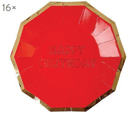 Talerz papierowy Happy Birthday, 16 szt.