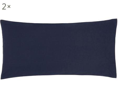 Einfarbige Perkal-Kissenbezüge Elsie in Dunkelblau, 2 Stück