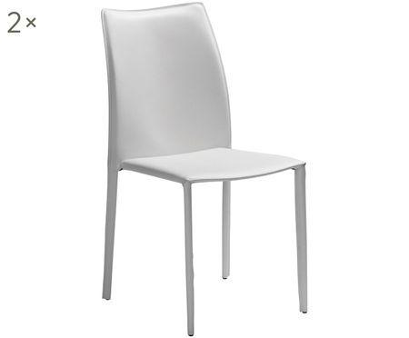 Krzesło tapicerowane ze skóry  Soléne, 2szt.
