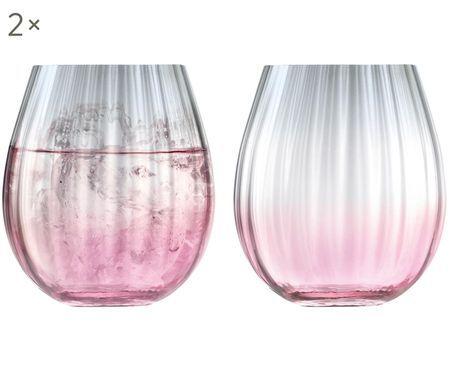 Verres à eau faits à la main, avec dégradé de couleurs et rainures Dusk, 2élém.