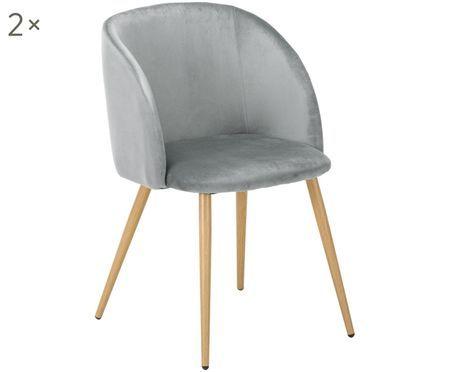 Krzesło tapicerowane z aksamitu Yoki, 2 szt.