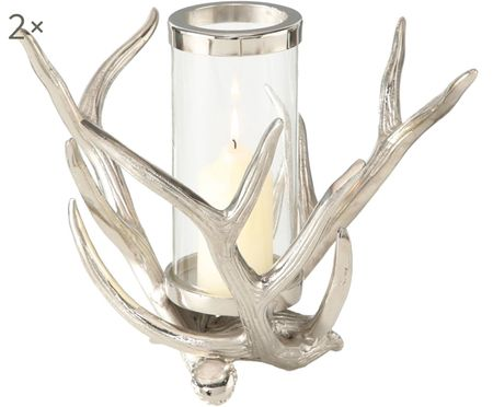 Portacandela country in vetro Antlers, 2 pz.