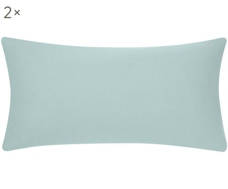 Einfarbige Flanell-Kissenbezüge Biba in Mintgrün, 2 Stück