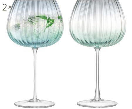 Handgefertigte Weingläser Dusk mit Farbverlauf und Rillenstruktur, 2er-Set