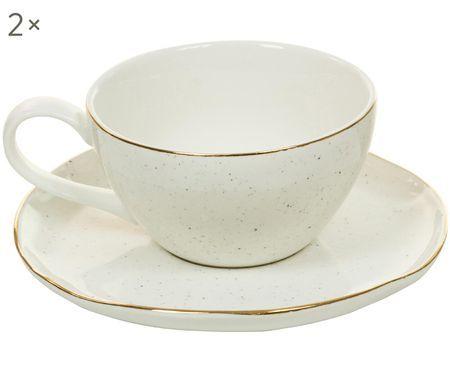Handgefertigtes Tassen-Set Bol mit Goldrand, 4-tlg.