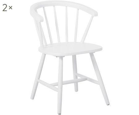 Krzesło z podłokietnikami z drewna naturalnego w stylu windsor Megan, 2 szt.