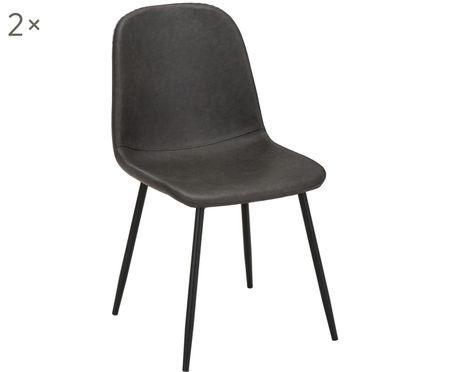 Imitatieleren gestoffeerde stoelen Leo, 2 stuks