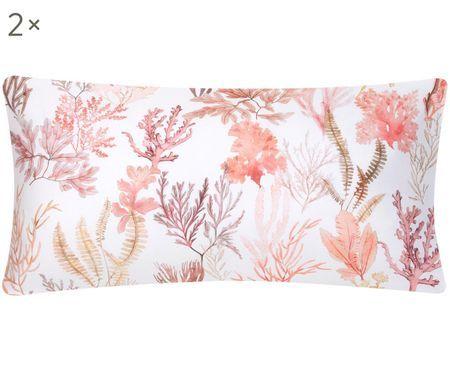 Oboustranný povlak na polštář zbavlněného saténu Coral, 2ks