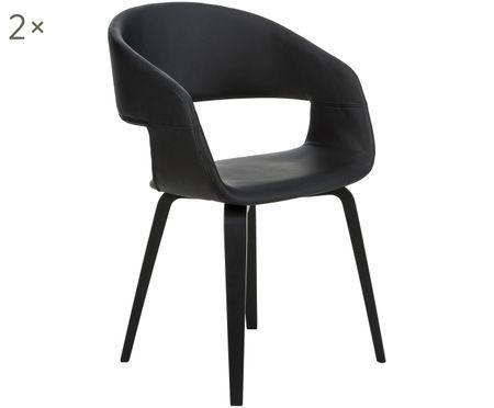 Židle spodručkami z imitace kůže Nova, 2 ks