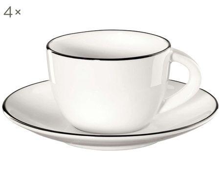 Set tazzine da caffè da tavola ligne noir, 8 pz.