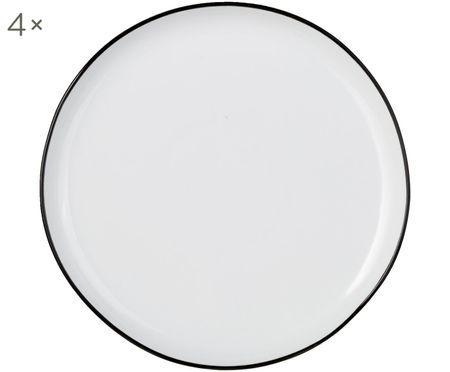 Frühstücksteller Abysse weiß/schwarz, 4 Stück