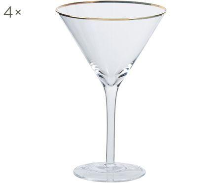 Bicchieri da martini Chloe trasparenti con bordo dorato, 4 pz. nel set