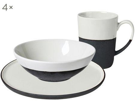 Handgefertigtes Frühstücks-Set Esrum matt/glänzend, 4 Personen (12-tlg.)