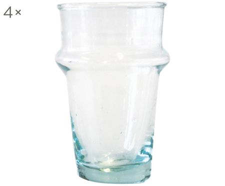 Mundgeblasene Wassergläser Morocco aus recyceltem Glas, 4er-Set
