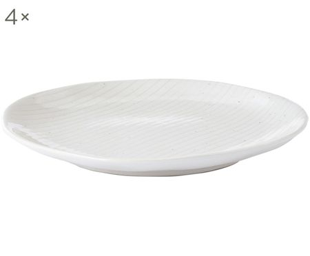 Handgefertigte Frühstücksteller Copenhagen mit feinen Streifen, 4 Stück