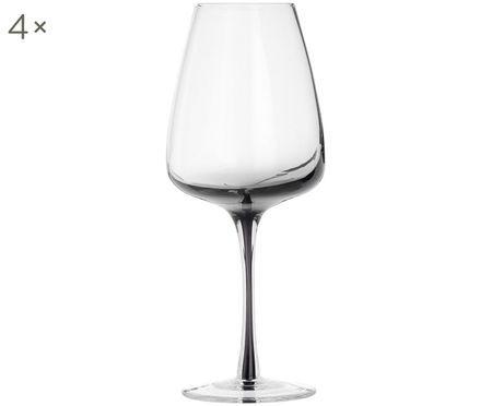 Mondgeblazen witte wijnglazen Smoke, 4 stuks