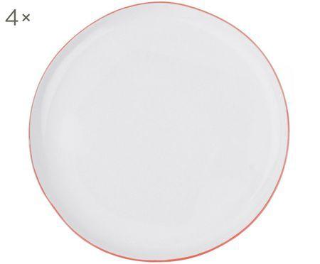 Frühstücksteller Abysse weiß/rot, 4 Stück