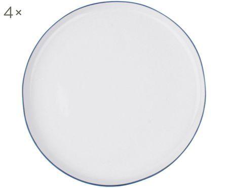 Speiseteller Abysse weiß/blau, 4 Stück