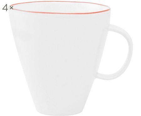 Kaffeetassen Abysse weiß/rot, 4 Stück