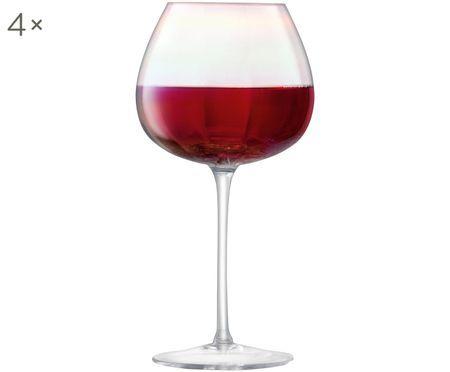 Mundgeblasene Rotweingläser Pearl mit Perlmuttglanz, 4er-Set
