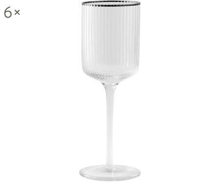 Weißweingläser Rilly mit Rillenstruktur und Silberrand, 6er-Set