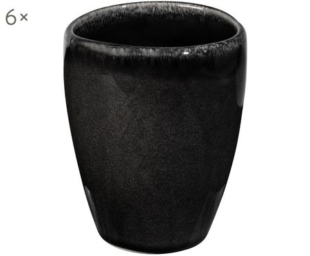 Handgefertigte Becher Nordic Coal, 6 Stück