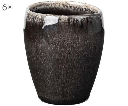 Handgefertigte Espressobecher Nordic Coal, 6 Stück